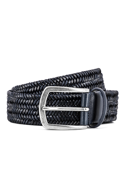 STRETCH WOVEN LEATHER AND COTTON BELT - MADE IN ITALY, Navy Blue, medium