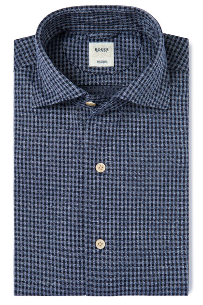 JERSEY OVERCHECK POLO SHIRT WITH REGULAR COLLAR TAILORED FIT, Blue, medium