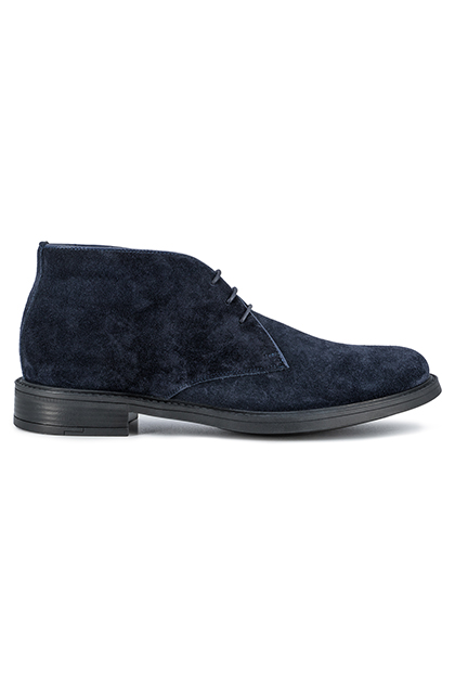 SUEDE ANKLE BOOTS - MADE IN ITALY, Blue, medium