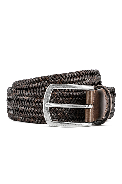 STRETCH WOVEN LEATHER AND COTTON BELT - MADE IN ITALY, Dark Brown, medium