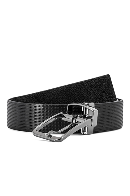 REVERSIBLE TEXTURED LEATHER AND SUEDE BELT - MADE IN ITALY , Black, medium