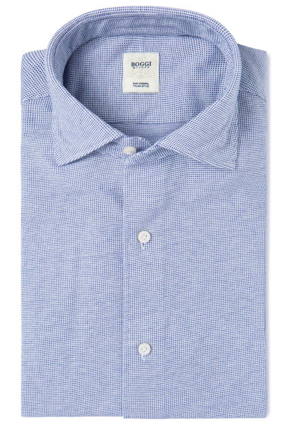 PATTERNED JERSEY POLO SHIRT WITH REGULAR COLLAR TAILORED FIT, Bluette, medium