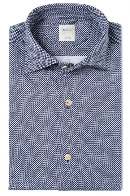 PRINTED JERSEY POLO SHIRT WITH REGULAR COLLAR TAILORED FIT, Blue, medium