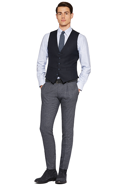 HOPSACK WAISTCOAT - SOFT TOUCH WOOL - MADE IN ITALY, Navy Blue, medium