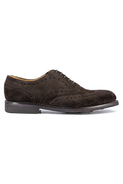 SUEDE DOVETAIL OXFORD SHOES DAINITE SOLE, Dark Brown, medium