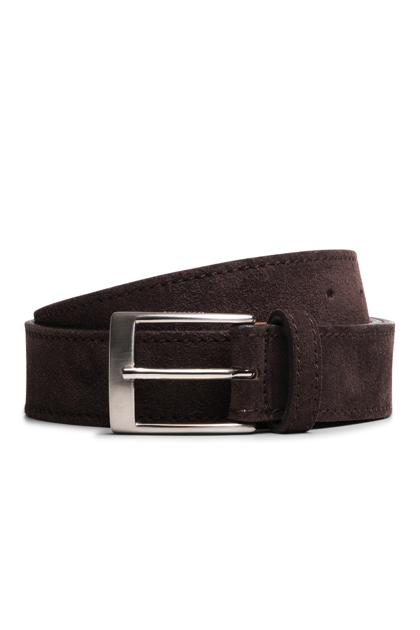 SUEDE BELT, Dark Brown, medium