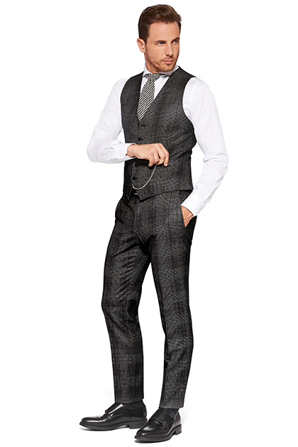 PRINCE OF WALES WAISTCOAT - PARTLY CARDED WOOL - MADE IN ITALY, Dark Grey, medium