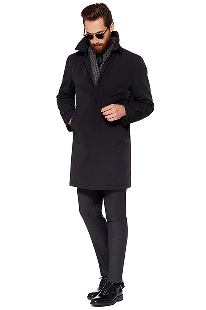 RAINCOAT - TECHNICAL FABRIC WITH WOOL LINING, Black, medium