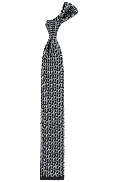 SILK HOUNDSTOOTH TRICOT TIE - MADE IN ITALY, Charcoal, medium