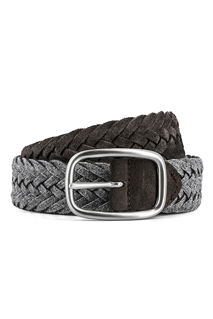 REVERSIBLE WOVEN LEATHER AND WOOL BELT - MADE IN ITALY , DARK BROWN - GREY, medium