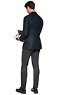 DIAGONAL TAILORED JACKET - CASHMERE BLEND - MADE IN ITALY, Navy Blue, small