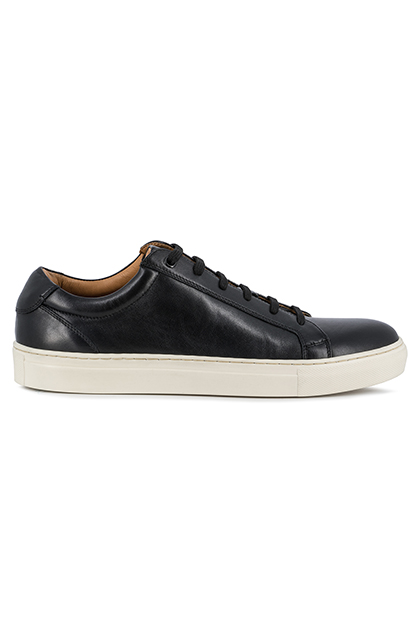 SMOOTH LEATHER TRAINERS, Black, medium
