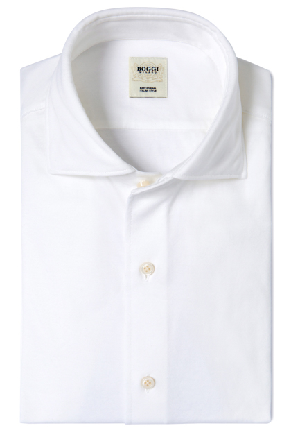 SOLID COLOUR JERSEY POLO SHIRT WITH REGULAR COLLAR TAILORED FIT, White, medium