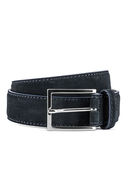 SUEDE BELT - MADE IN ITALY, Navy Blue, medium