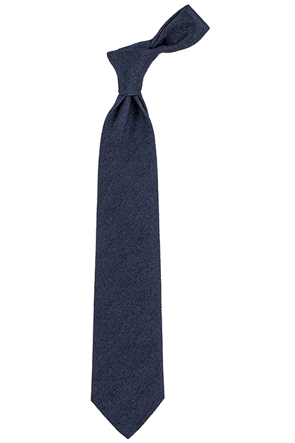 SILK/WOOL POLKA DOT TIE WITH STRUCTURED BACK - MADE IN ITALY, Navy Blue, medium