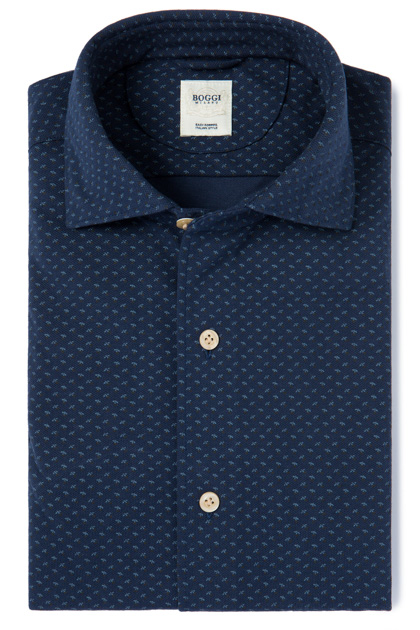 PRINTED PIQUÉ POLO SHIRT WITH REGULAR COLLAR TAILORED FIT, Navy Blue, medium