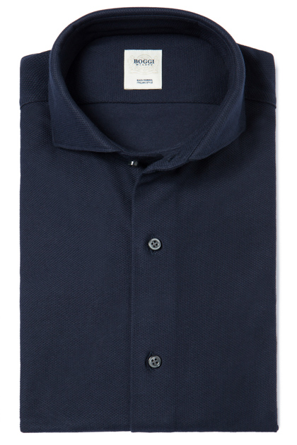SOLID COLOUR PIQUÉ POLO SHIRT WITH OPEN COLLAR TAILORED FIT, Navy Blue, medium