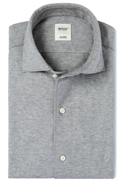SOLID COLOUR MELANGE JERSEY POLO SHIRT WITH REGULAR COLLAR TAILORED FIT, Grey, medium