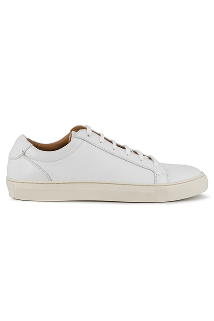 SMOOTH LEATHER TRAINERS, White, medium