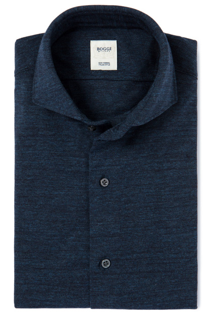 MELANGE PIQUÉ POLO SHIRT WITH OPEN COLLAR TAILORED FIT, Denim, medium