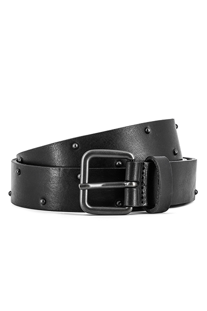 STUDDED LEATHER BELT - MADE IN ITALY, Black, medium