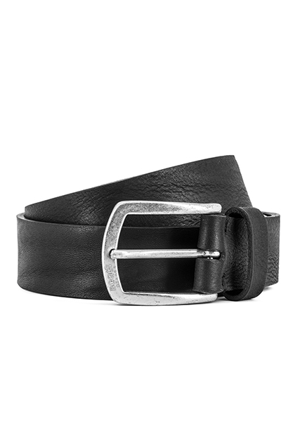 SPORTY LEATHER BELT - MADE IN ITALY, Black, medium