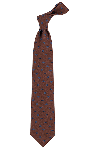 LARGE-SCALE PATTERNED WOOL TIE - MADE IN ITALY, Orange, medium