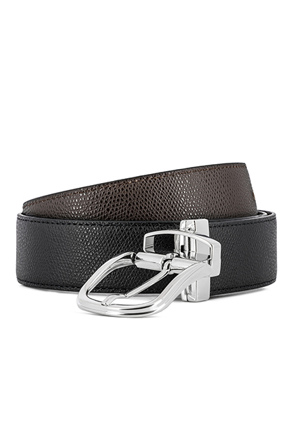 REVERSIBLE SAFFIANO LEATHER BELT - MADE IN ITALY , Black - Dark brown, medium