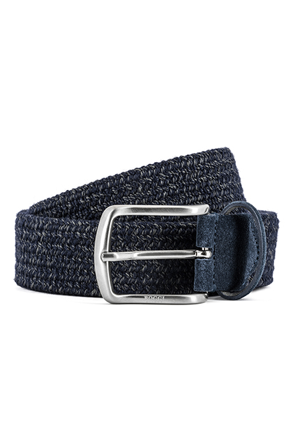 STRETCH WOOL BELT - MADE IN ITALY, Navy Blue, medium