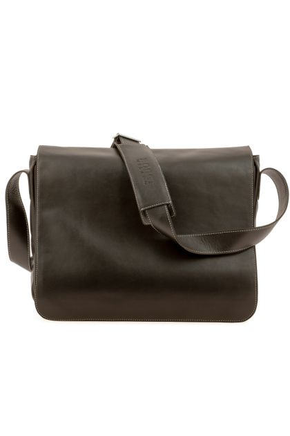 SOFT LEATHER LAPTOP BAG - DOUBLE POCKETS, Dark Brown, medium
