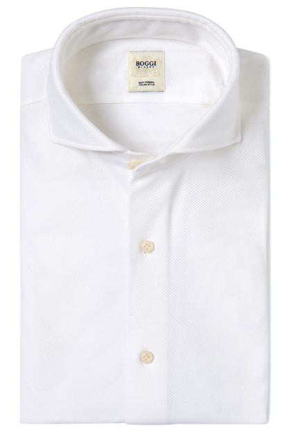 SOLID COLOUR PIQUÉ POLO SHIRT WITH OPEN COLLAR TAILORED FIT, White, medium