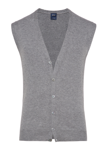 SUPERLIGHT CARDED WOOL GILET, CUSTOM FIT - MADE IN ITALY, Grey, medium