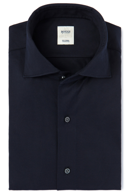 SOLID COLOUR JERSEY POLO SHIRT WITH REGULAR COLLAR TAILORED FIT, Navy Blue, medium