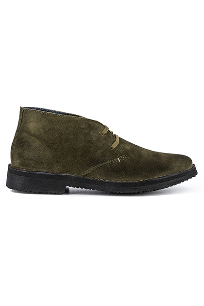 LIVED-IN SUEDE ANKLE BOOTS - MADE IN ITALY, Military Green, medium
