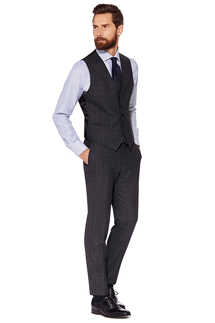 PRINCE OF WALES FUSED SUIT WAISTCOAT - SUPER 130 WOOL - MADE IN ITALY, Grey, medium