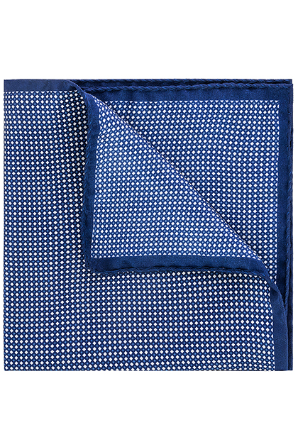 PRINTED SILK MICRO PATTERNED POCKET SQUARE - MADE IN ITALY, , medium