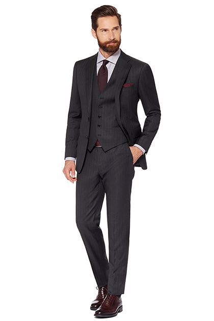 DOUBLE PINSTRIPE SUIT - LIGHT WOOL - MADE IN ITALY, Grey, medium