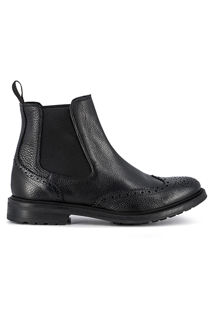 HAMMERED LEATHER BEATLE BOOTS DAINITE SOLE, Black, medium