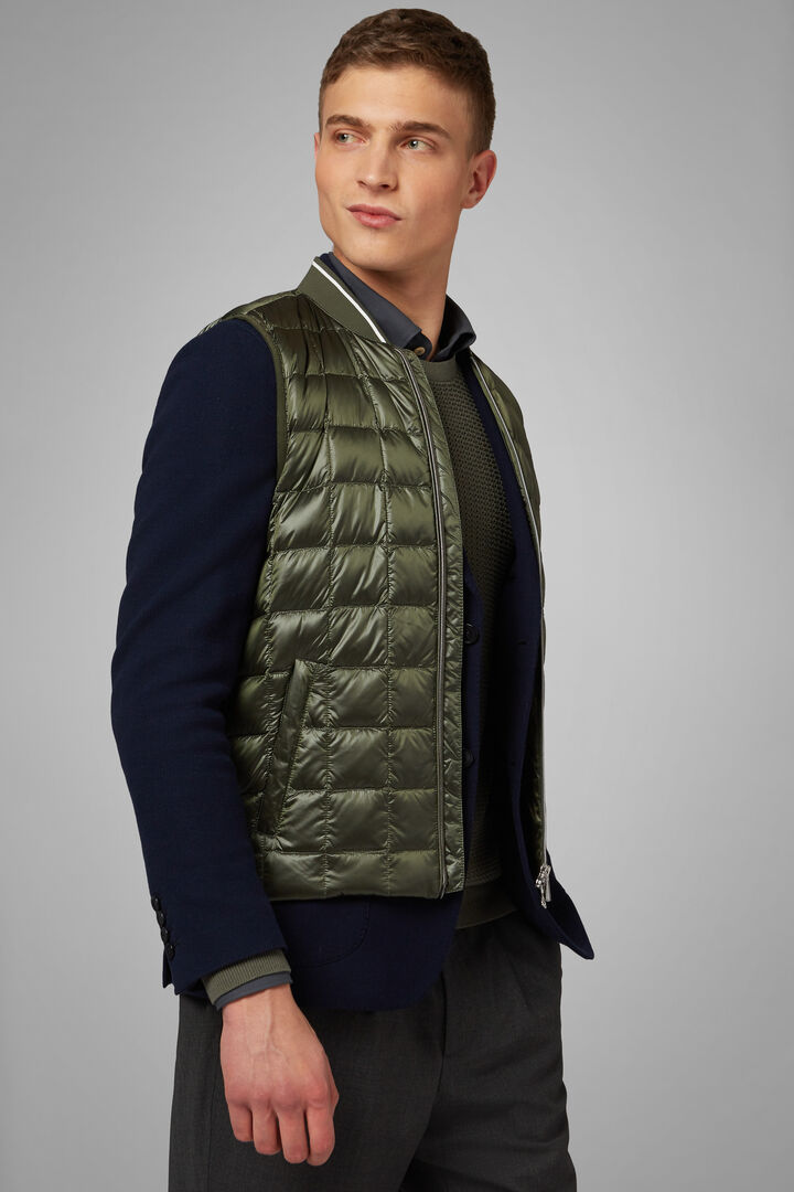 Square Quilted Nylon Gilet, Green, hi-res