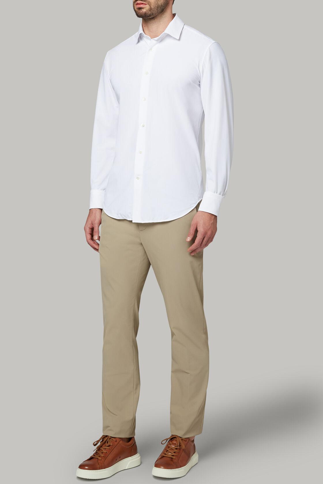 Weisses hemd mit tokyo- kragen aus elastischem nylon slim fit, Weiß, hi-res