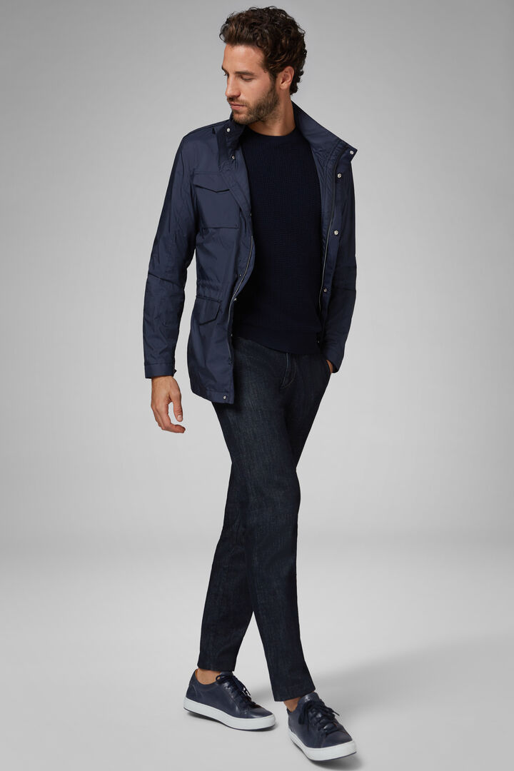 Field Jacket In High Denity Fabric, Navy blue, hi-res