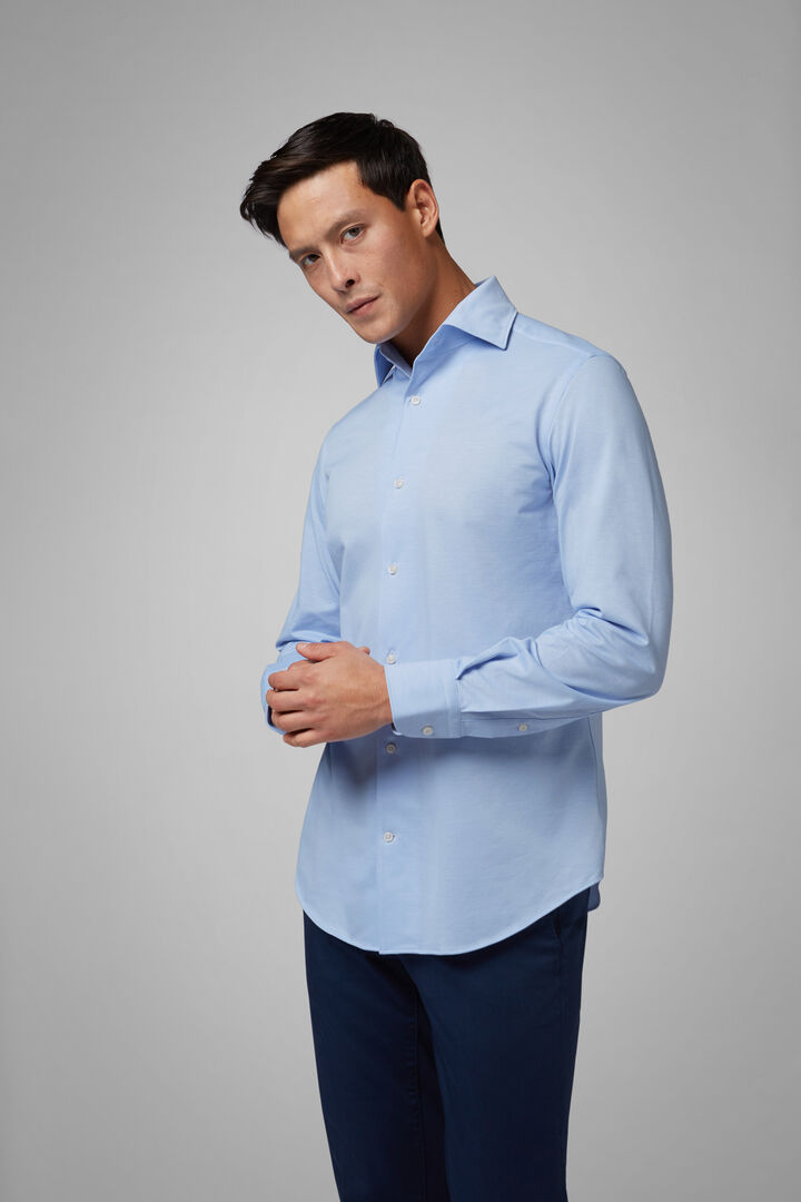 Regular Fit Sky Blue Casual Shirt With Cuban Collar, Light blue, hi-res