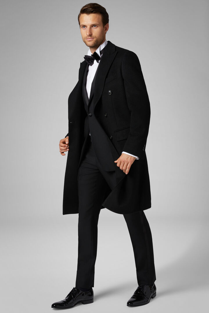 Long Double-Breasted Coat, Black, hi-res