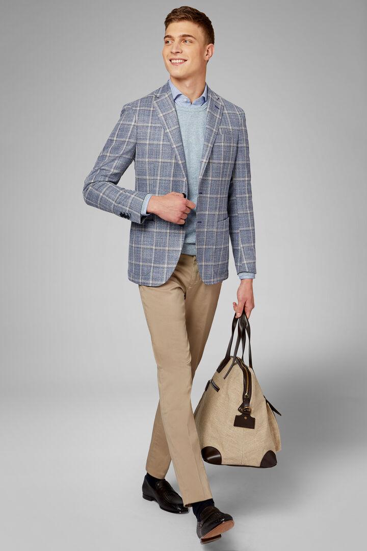 Sky Blue Wool/Silk Roma Blazer, Light blue, hi-res