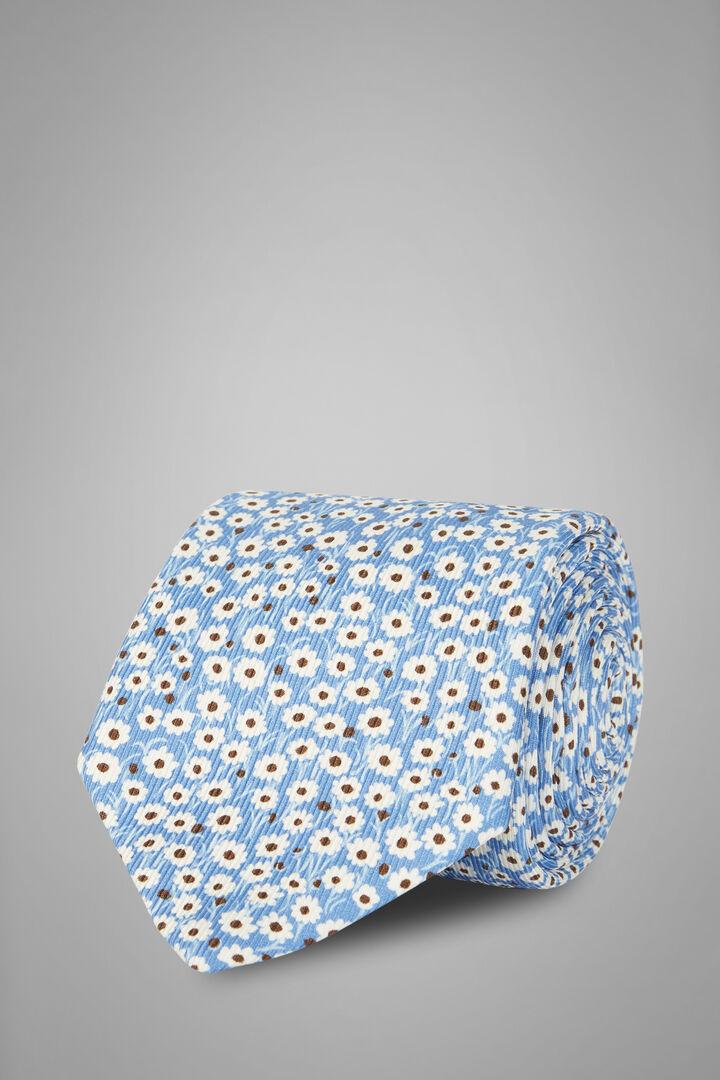 Cravatta Fiore In Seta Stampata, Azzurro, hi-res