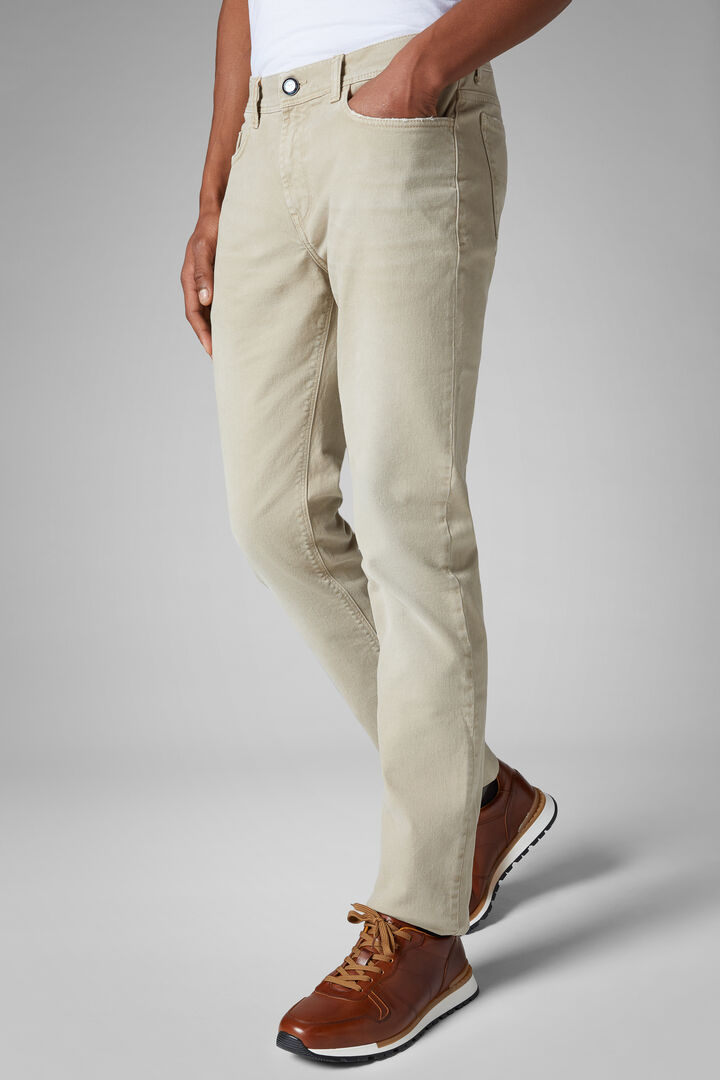 Regular Fit Stretch Cotton Bull Denim 5 Pocket Trousers, Beige, hi-res