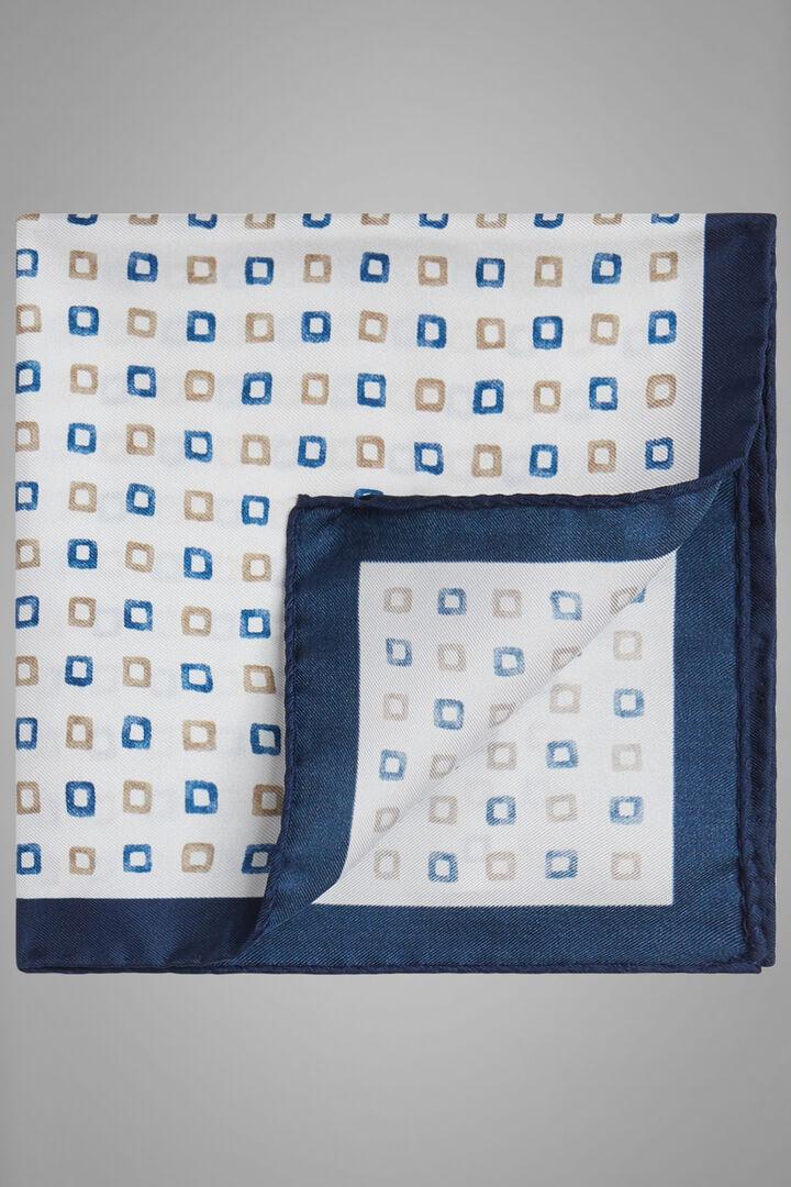 Pochette Paisley In Seta Stampata, Bianco - Blu, hi-res