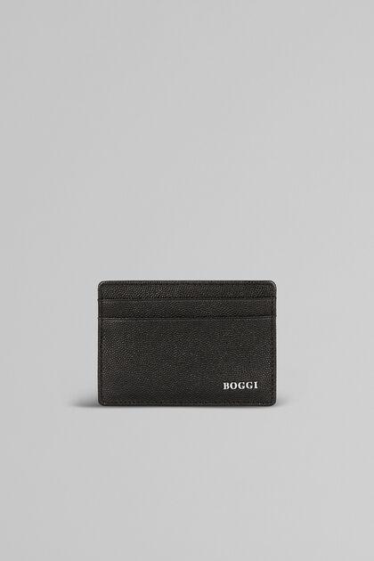 Porte-Cartes De Crédit En Cuir Imprimé Caviar, Noir, hi-res
