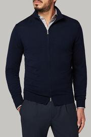 Navyblauer pullover mit durchgehendem reissverschluss aus merinowolle, Navy blau, hi-res