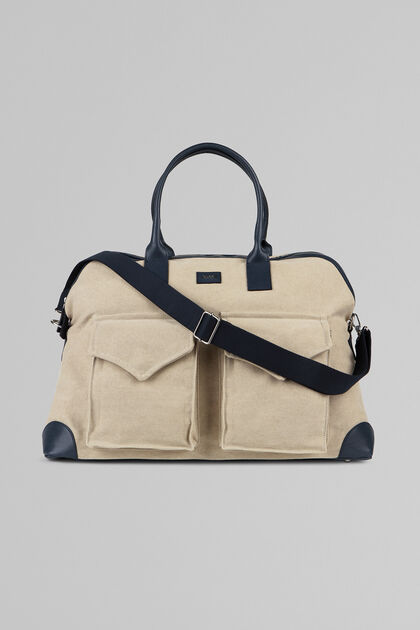 CANVAS MARE HOLDALL, GREY - BLUE, hi-res
